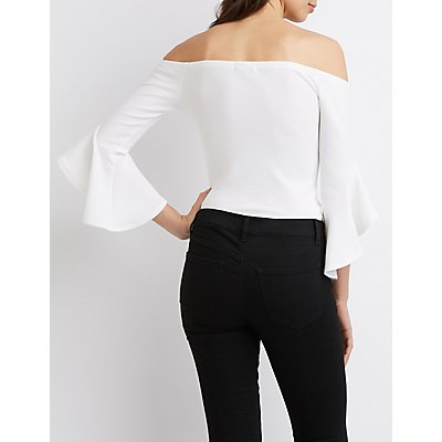 Ruffled Bell Sleeve Off-The-Shoulder Top