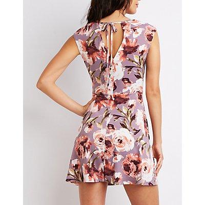 Floral Keyhole Skater Dress