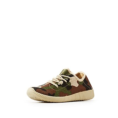 Qupid Camo Knit Lace-Up Sneakers