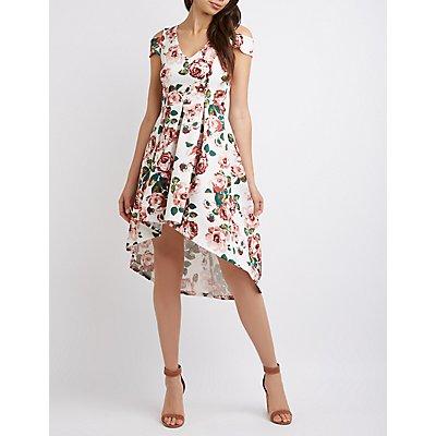 Floral Cold Shoulder High-Low Skater Dress