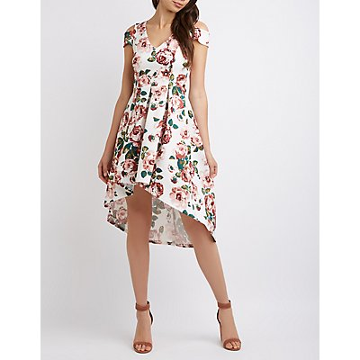 Floral Cold Shoulder High-Low Skater Dress