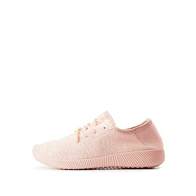 Qupid Knit Lace-Up Sneakers