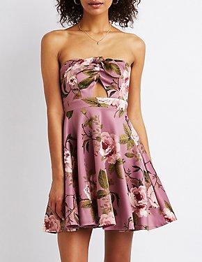 Knotted Floral Strapless Skater Dress
