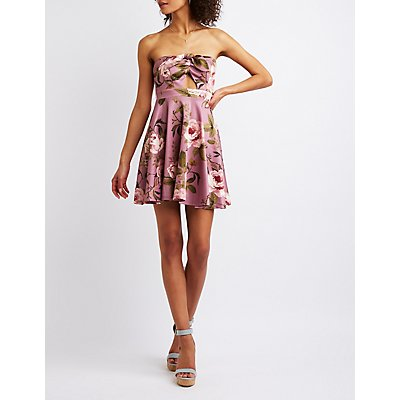 Knotted Floral Strapless Skater Dress
