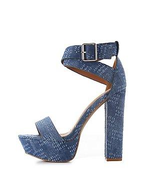 Denim Ankle Strap Platform Sandals