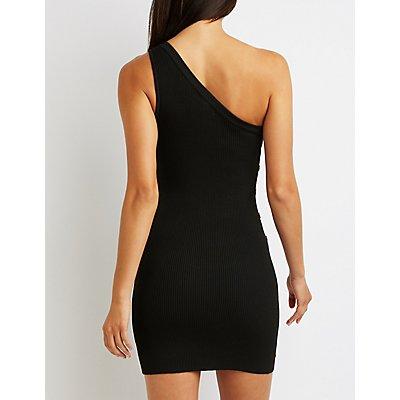 Button-Up One Shoulder Dress
