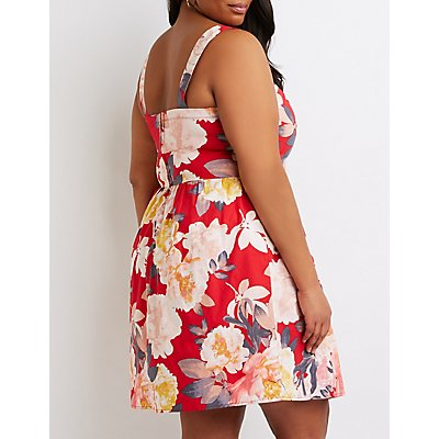 Plus Size Floral Bustier Skater Dress
