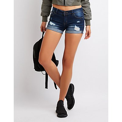 Destroyed Push Up Cuffed Mid-Rise Denim Shorts