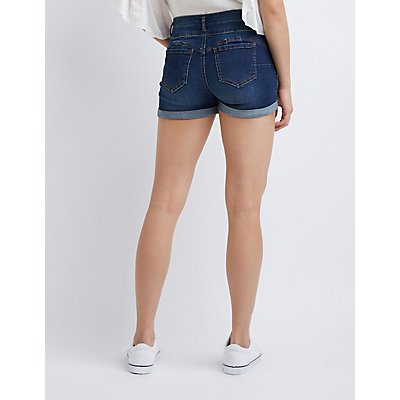 Cuffed Denim Shorts