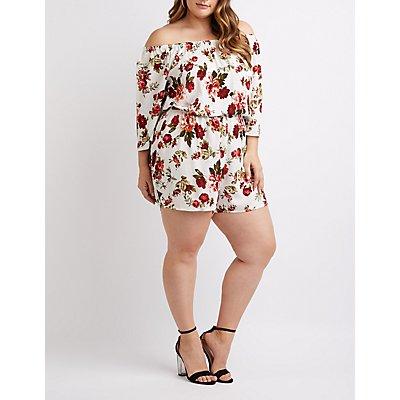 Plus Size Floral Off-The-Shoulder Romper