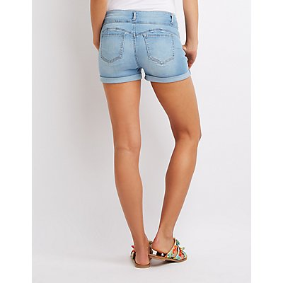Destroyed Cuffed Push Up Denim Shorts