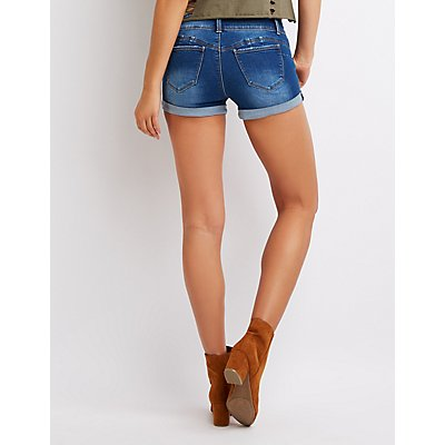 Push Up Cuffed Push Up Denim Shorts