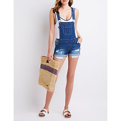 Roll Hem Destroyed Denim Shortalls