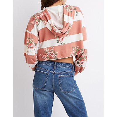 Floral & Striped Cropped Drawstring Hoodie