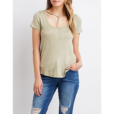 Strappy Scoop Neck Tee