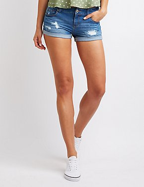 Destroyed Rolled Hem Shorts