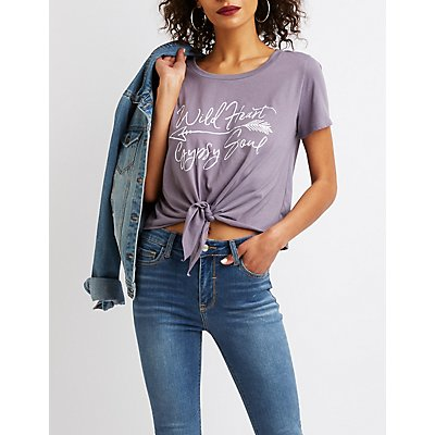 Tie-Front Wild Heart Gypsy Soul Graphic Tee