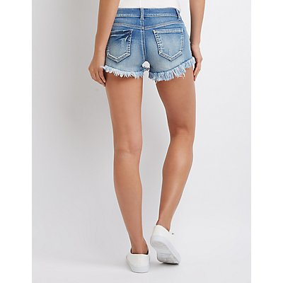 Destroyed Cut Off Denim Shorts