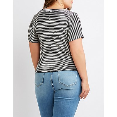 Plus Size Striped Knot-Front Tee