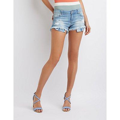 Destroyed Cut Off Denim Shorts