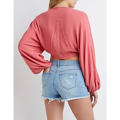 Floral Frayed Hem Denim Shorts