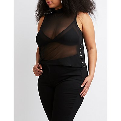 Plus Size Mock Neck Mesh Top
