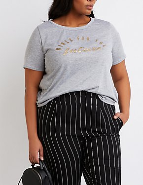 Plus Size Girls For The Future Glitter Graphic Tee