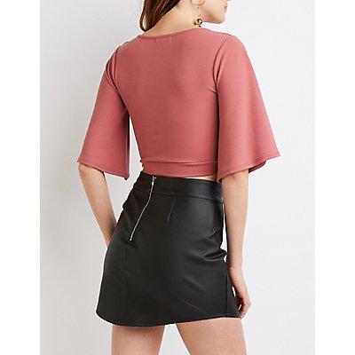 Twist-Front Kimono Sleeve Crop Top