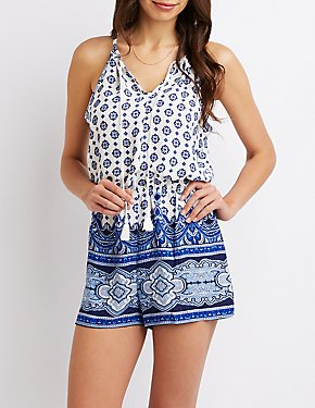 Sleeveless Tassel-Detailed Romper