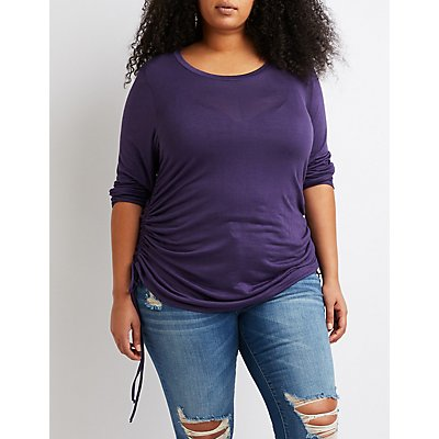 Plus Size Ruched Crew Neck Top