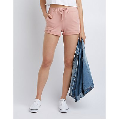 Drawstring Cuffed Hem Shorts
