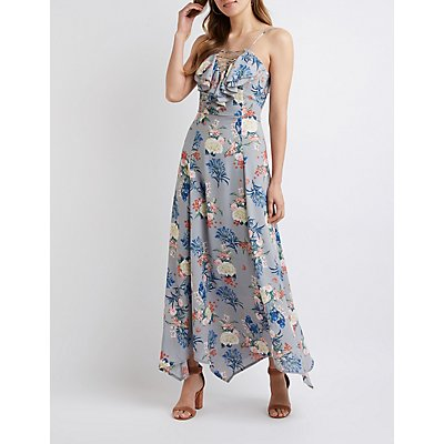 Floral Ruffle Trim Maxi Dress
