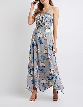 Floral Ruffle Trim Maxi Dress