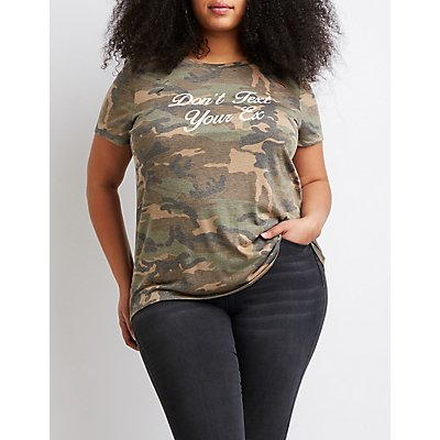 Plus Size Don't Text Your Ex Camo Tee