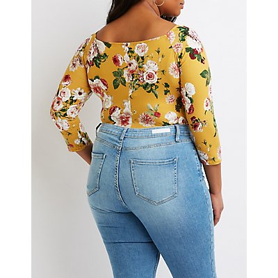 Plus Size Floral Caged-Front Bodysuit