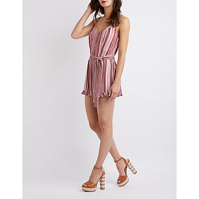 Striped Ruffle Trim Romper