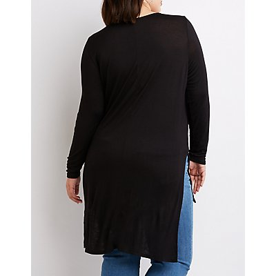 Plus Size Scoop Neck High-Low Tunic
