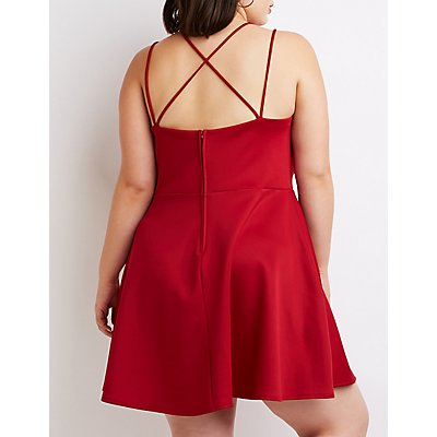 Plus Size Surplice Skater Dress