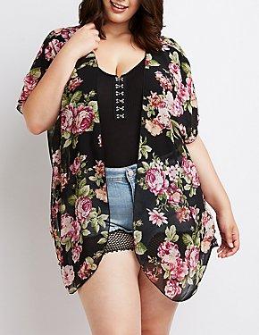Plus Size Floral Open-Front Kimono