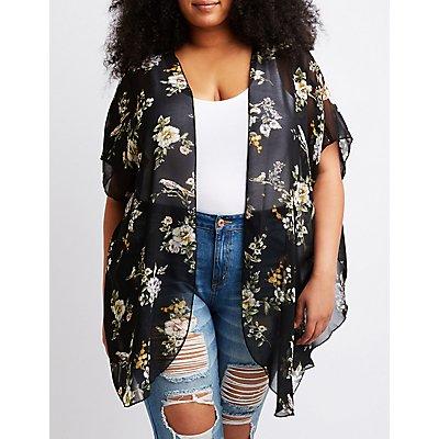 Kimono abierto con diseño florar, talla grande