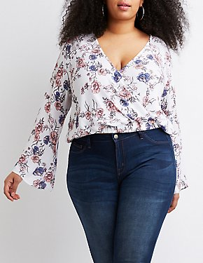 Plus Size Floral Surplice Top