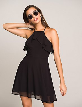 Ruffle-Trim Bib Neck Skater Dress