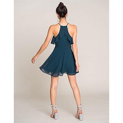 Ruffle-Trim Bib Neck Skater Dress