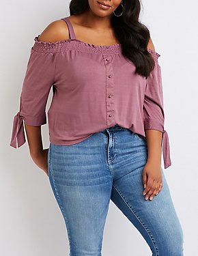 Plus Size Cold Shoulder Tie-Sleeve Top