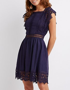 Crochet Trim Skater Dress