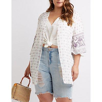 Plus Size Paisley Open-Front Kimono