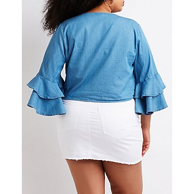Plus Size Chambray Tie Front Top by Charlotte Russe