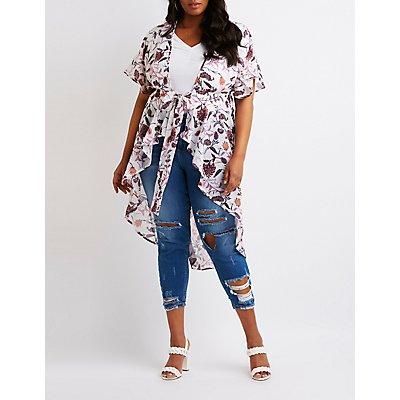 Plus Size Floral Tie Front Kimono