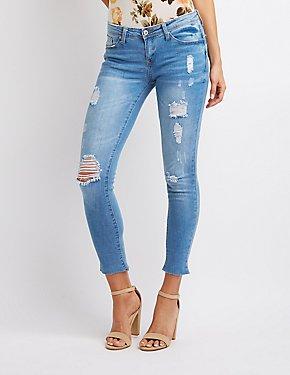 Hi Rise Frayed Hem Jeans