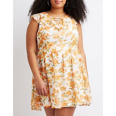 Plus Size Floral Ruffle Lattice-Front Dress